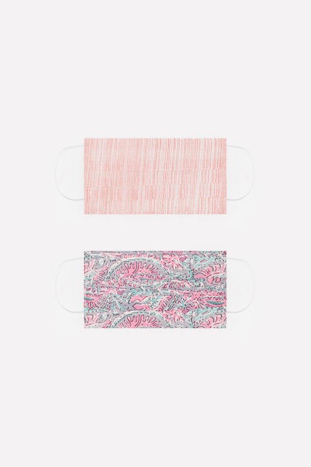 2 PACK Masque rosa imprimé coton organique