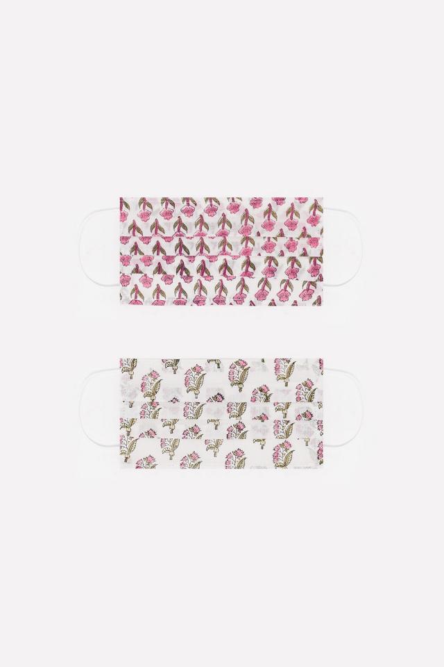2 PACK Masque rosa imprimé fleurs coton organique