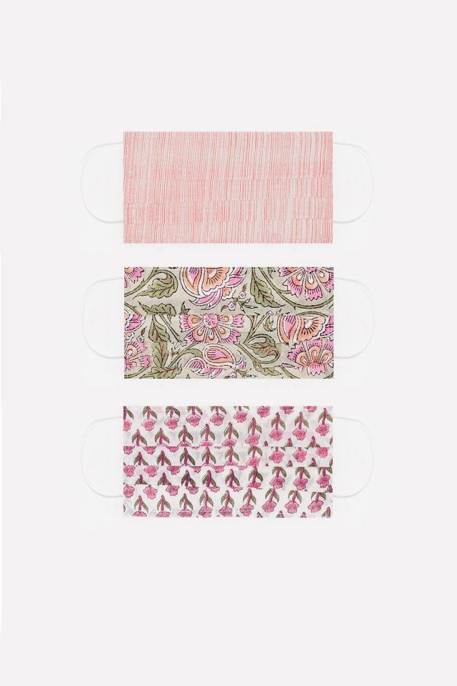 3 PACK Masque rosa imprimé coton organique