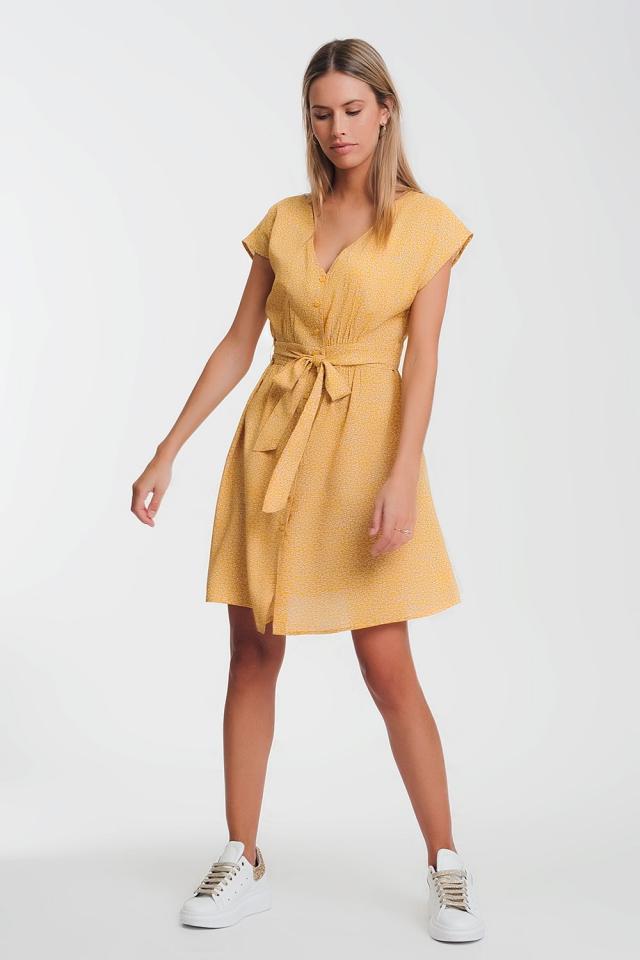 Robe babydoll boutonnée imprimé petites fleurs mustard