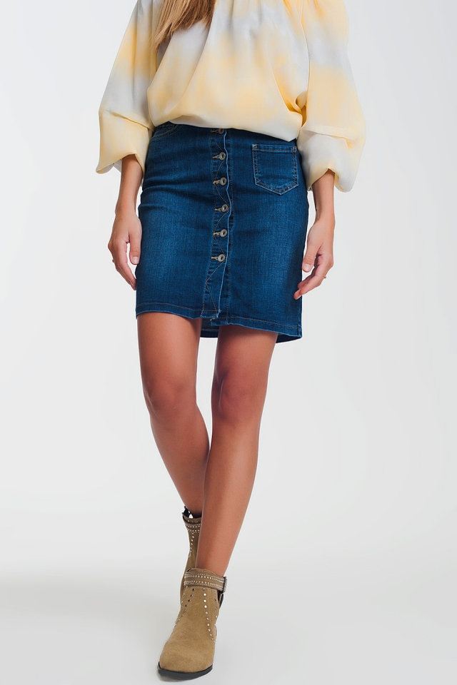 Button through dark denim skirt