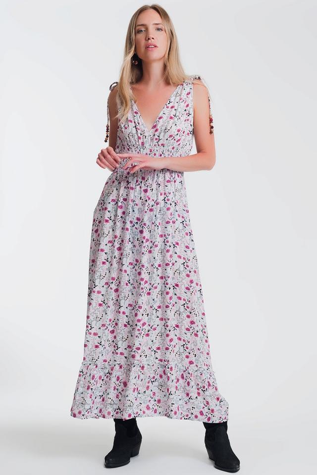 Flower print pink dress