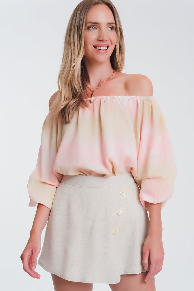 Top à épaules dénudées effet tie-dye rosa