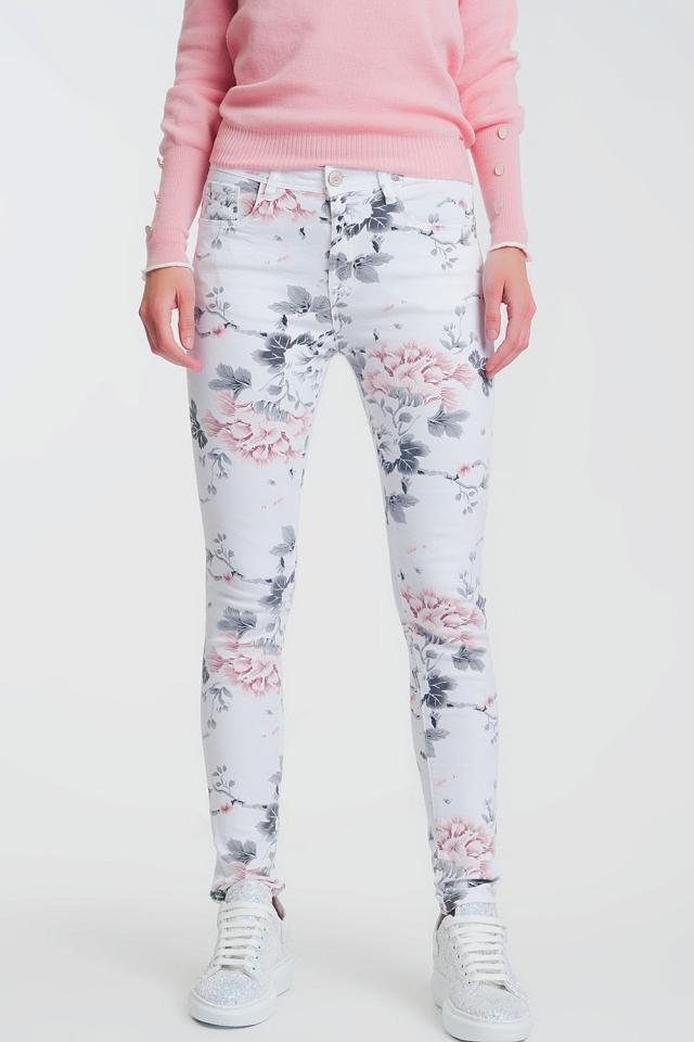 Pantalon super skinny blanc à imprimé floral