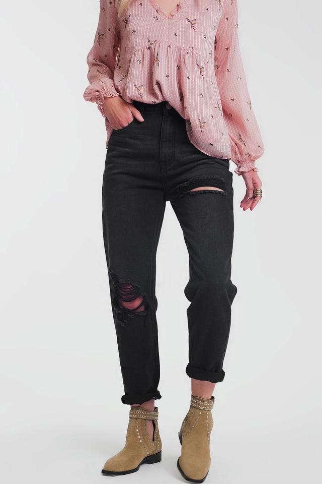 jean droit noir déchiré