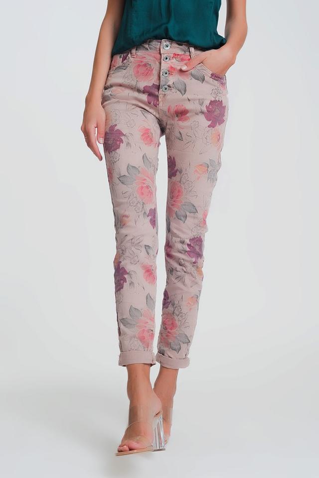 Pantalon boyfriend rose à imprimé floral