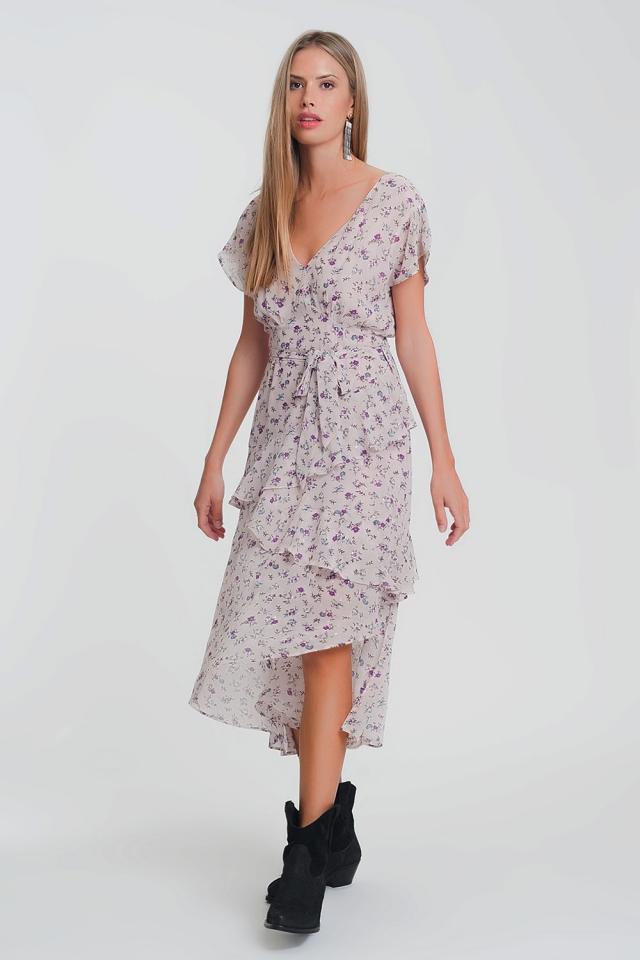 Robe longue rose avec jupe fluide doublée imprimé
