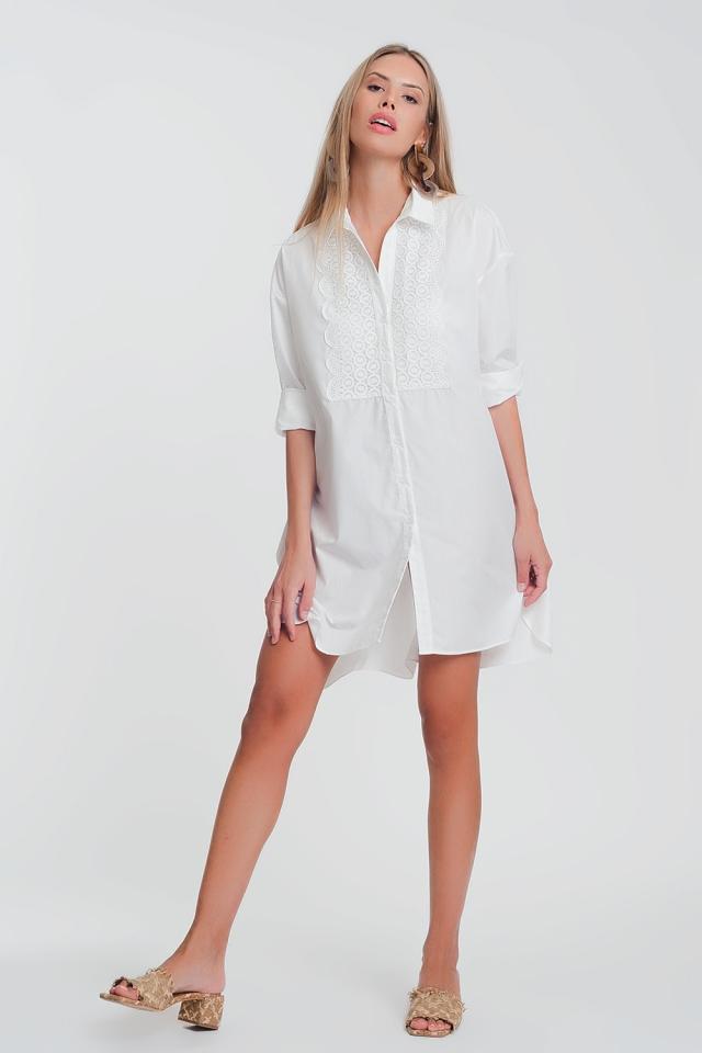 Robe chemise en popeline avec dentelle blanc