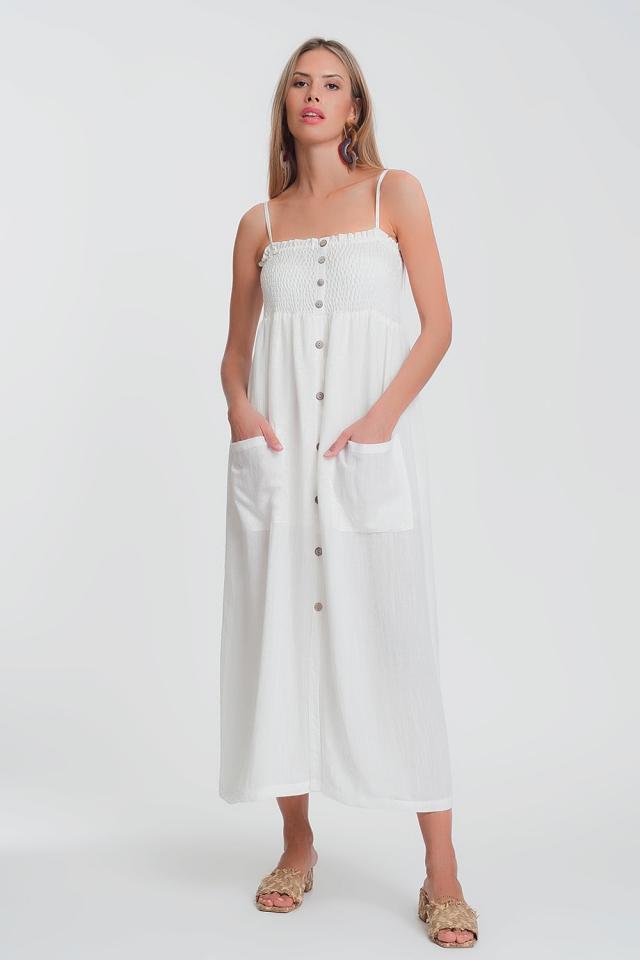 Robe longue blanc à corsage froncé avec poches