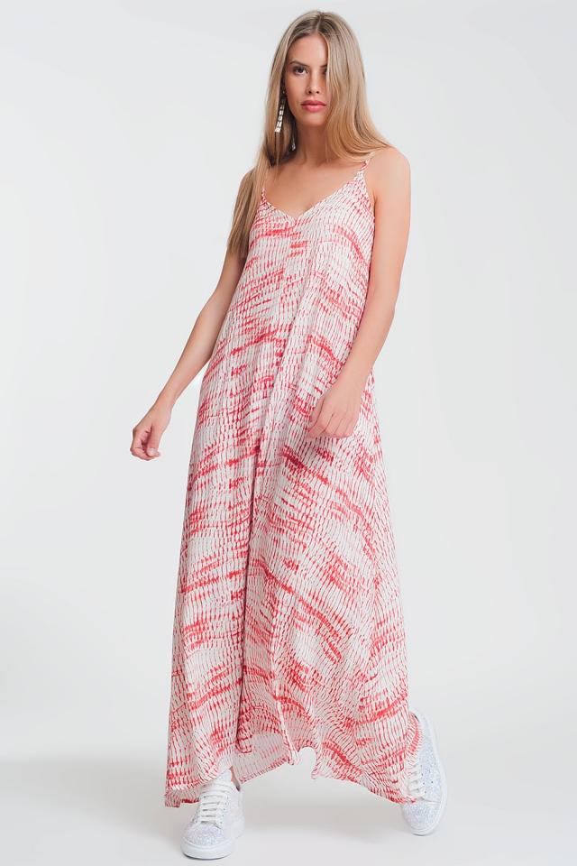 Robe maxi imprime en crêpe avec lien au dos