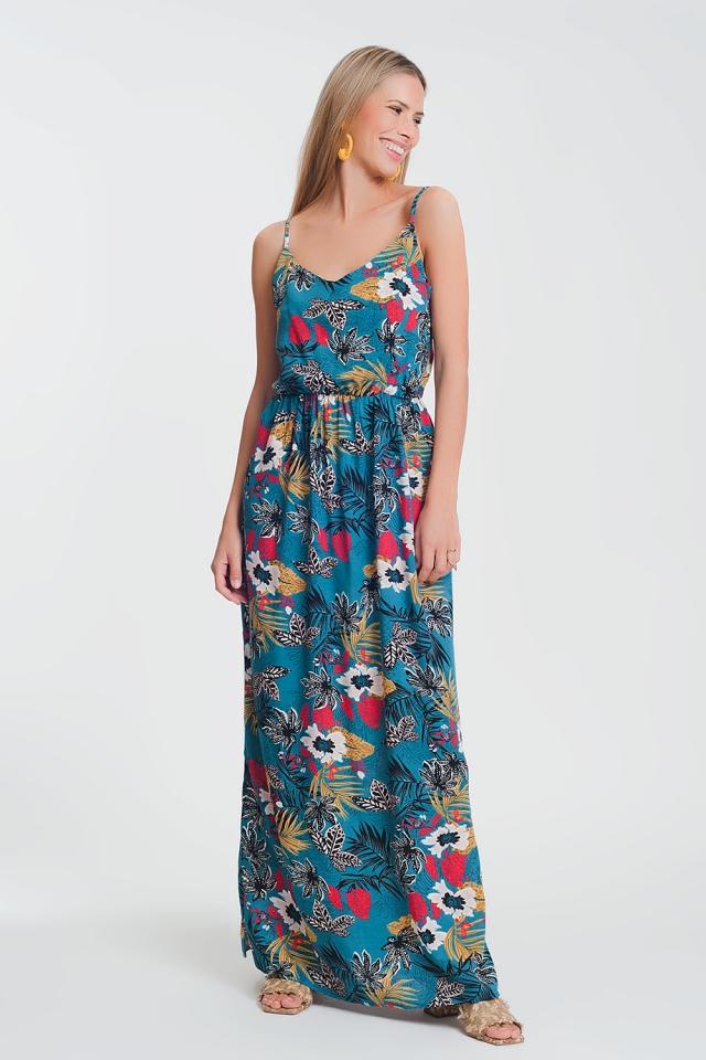 Robe longue avec taille froncée et imprimé fleuri