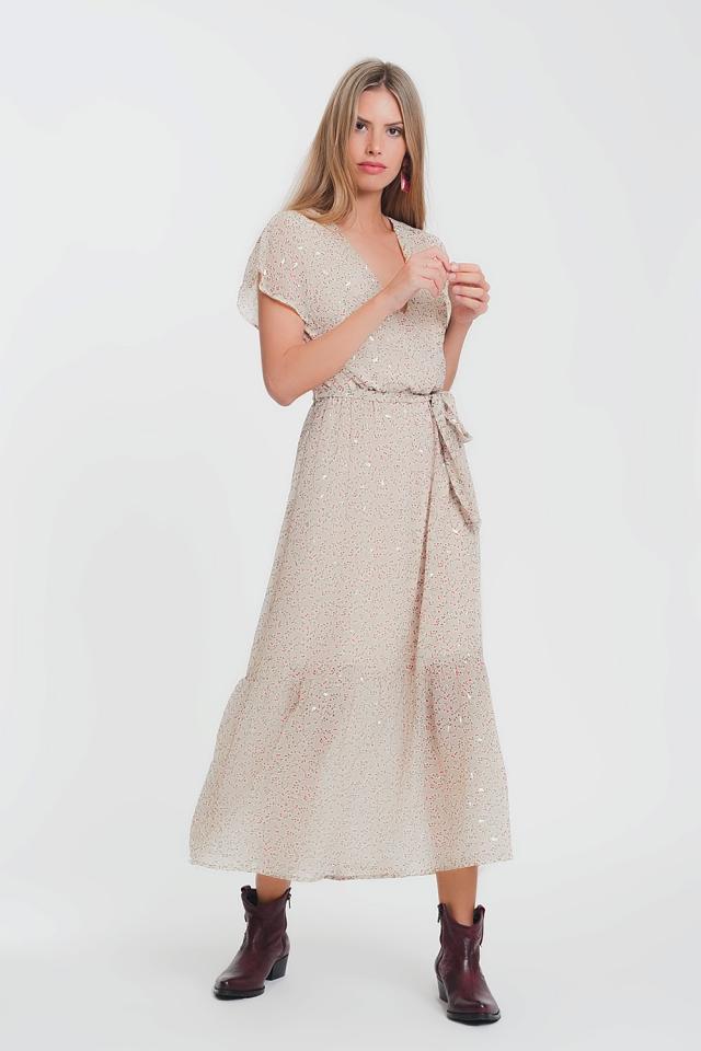 Robe longue à taille nouée et motif à petites fleurs