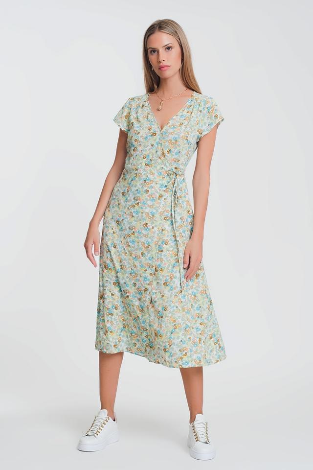 Robe cache-cœur mi-longue à petites fleurs vert