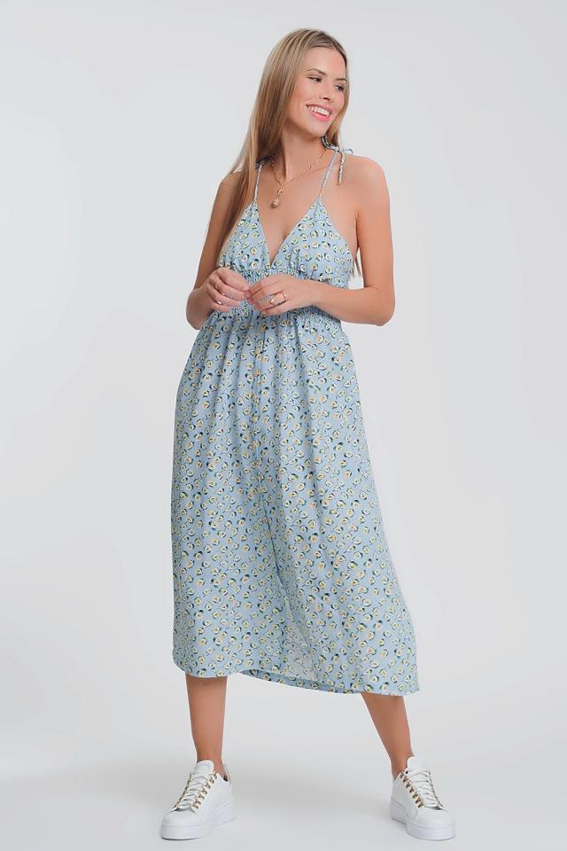 Robe longue à dos ouvert bleu fleuri