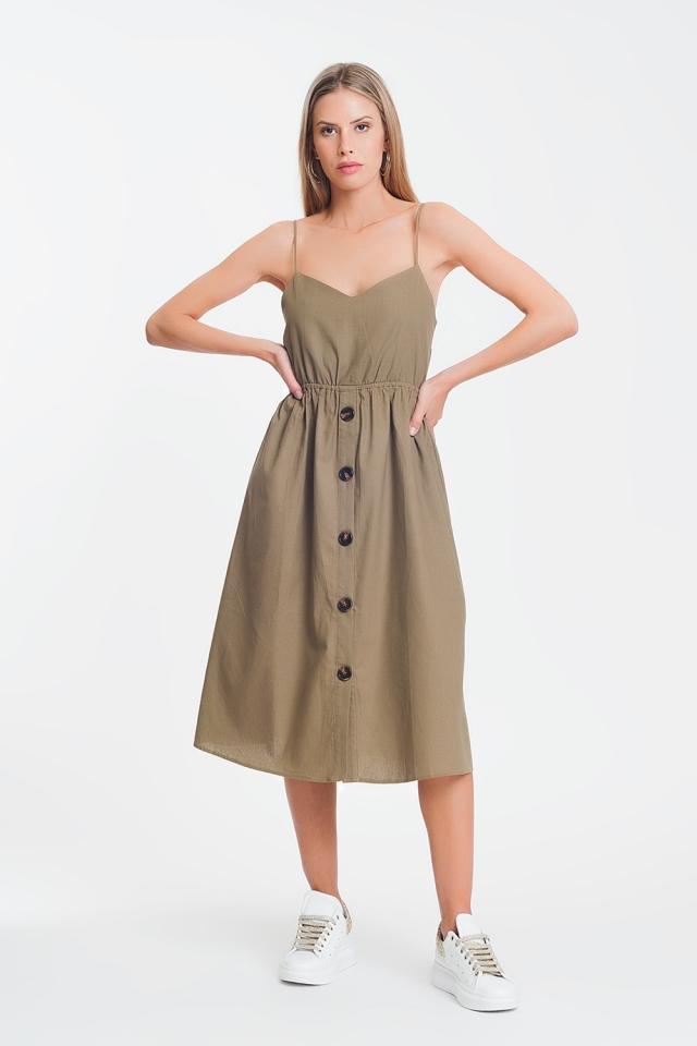 Robe mi-longue boutonnée khaki