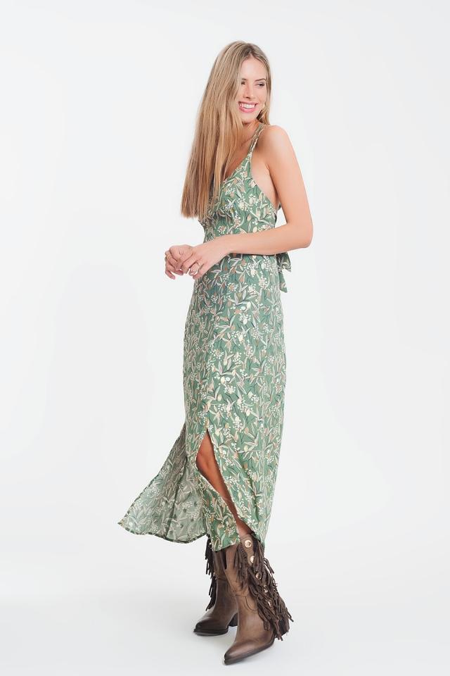 Robe longue caraco à fleurs avec dos découvert