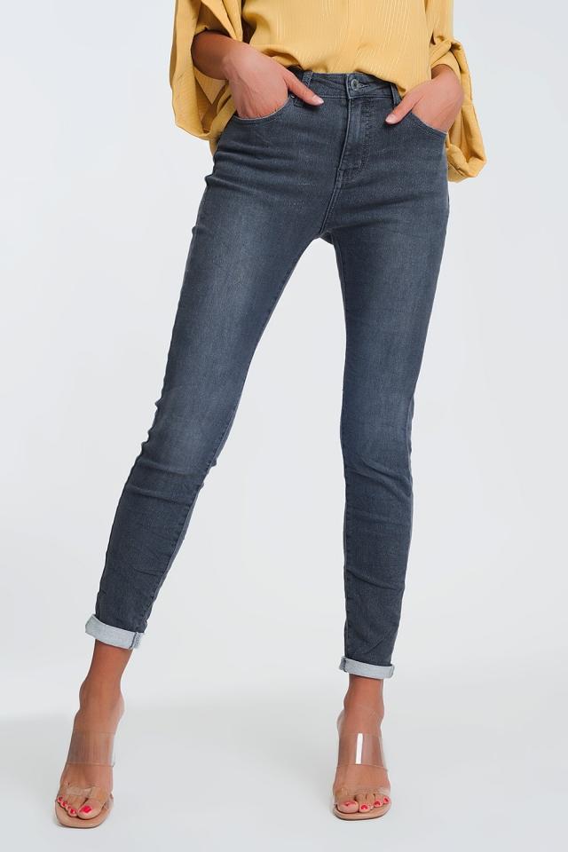 Jean taille haute en tissu pailleté