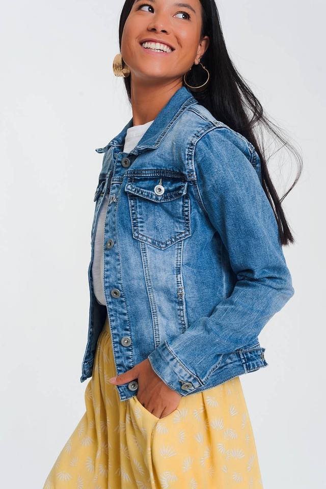 Veste en jean coupe courte- Délavé Bleu clair