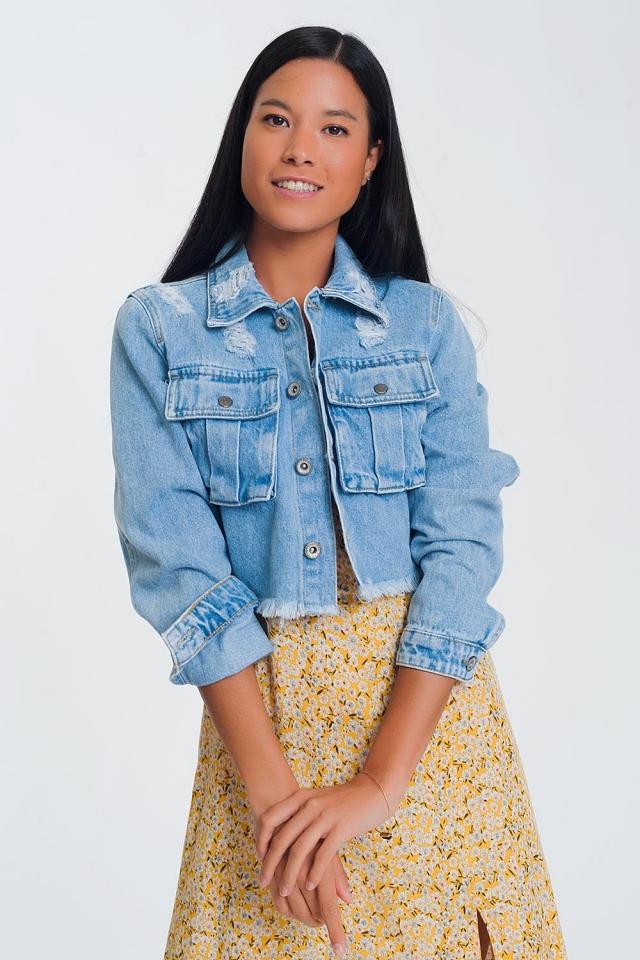 Veste courte en jean à ourlet brut -Bleu clair