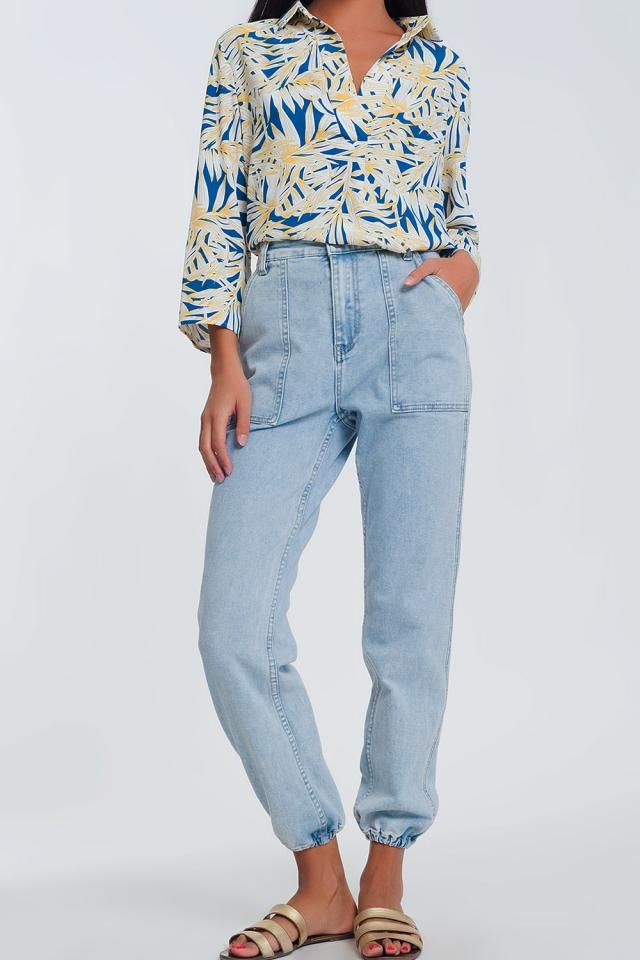 Jean ovoïde avec poches - Bleu clair