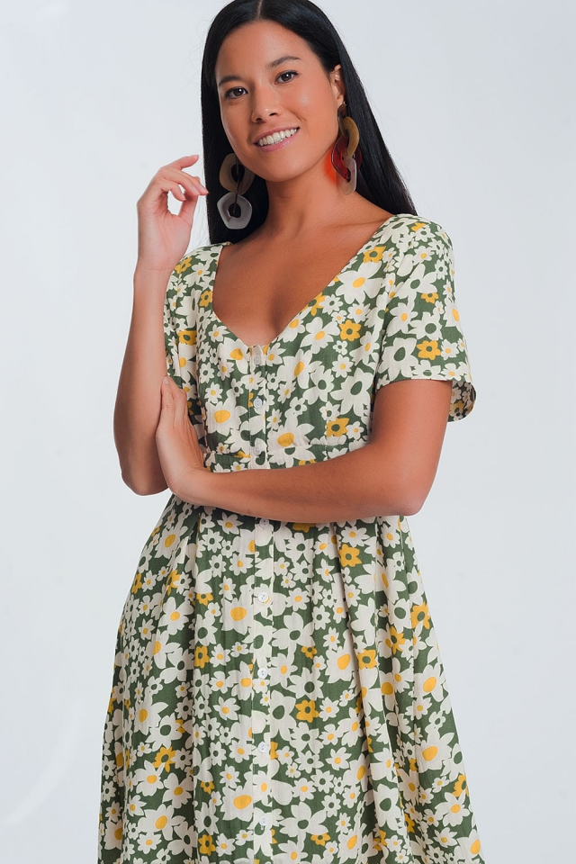 Robe courte à fleurs - Vert