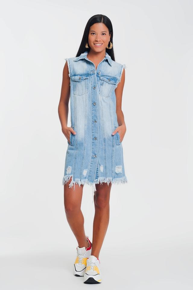 Robe en jean sans manches à blue clair