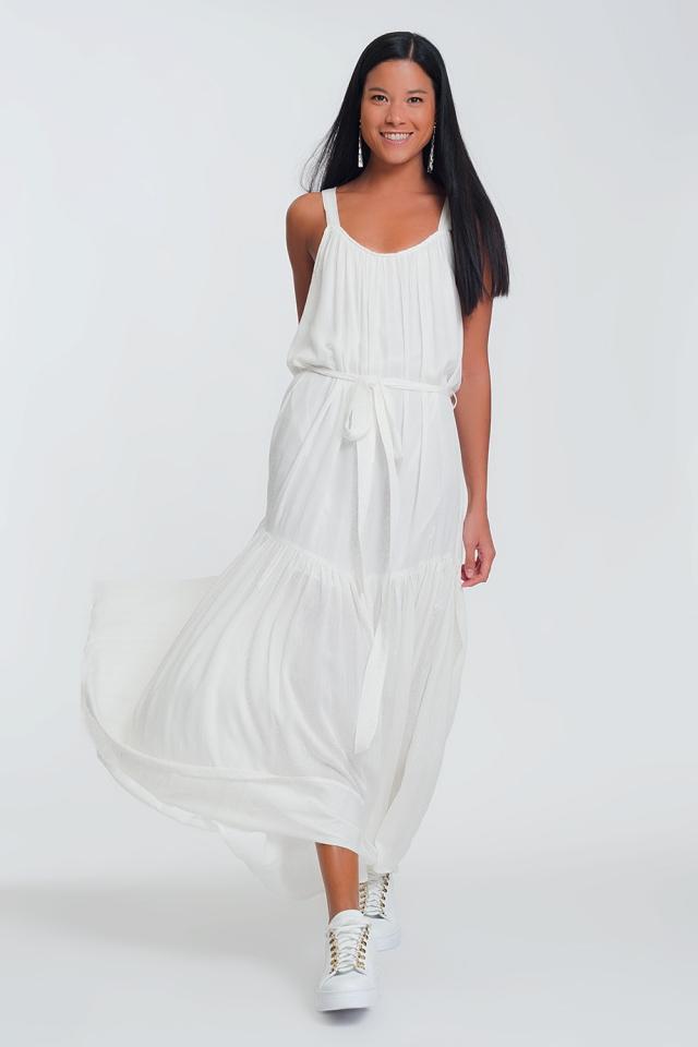 Robe longue avec dos croisé Blanc