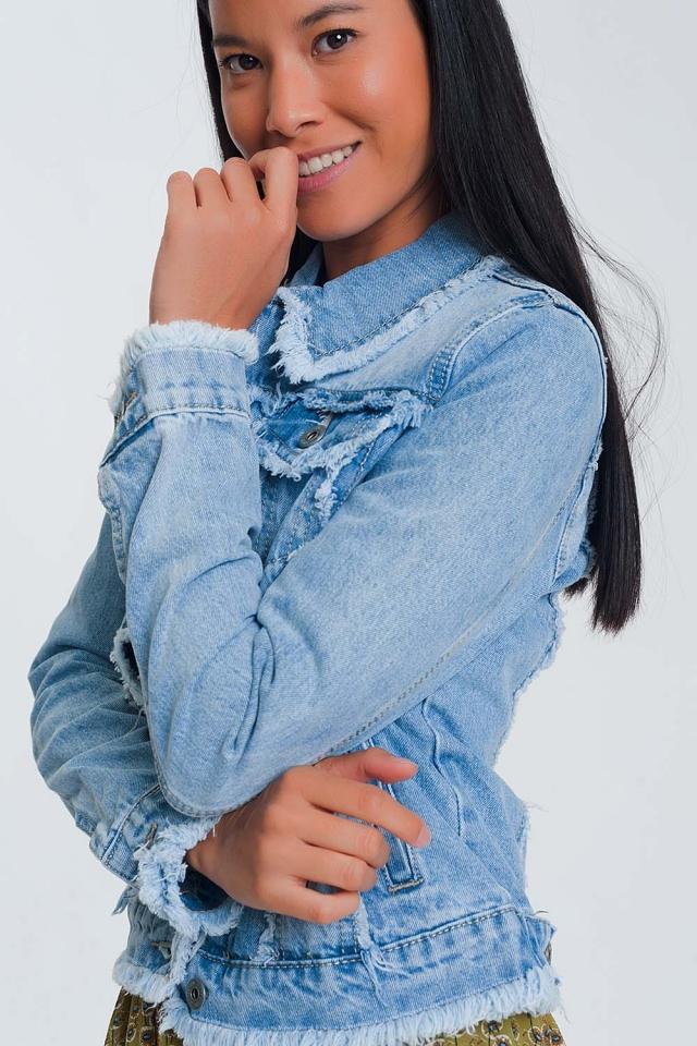 Veste en jean à ourlet brut - Bleu clair