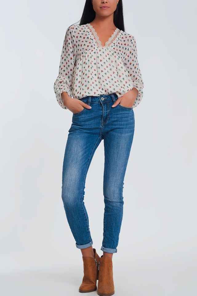 Jean skinny à taille mi-haute - Bleu clair