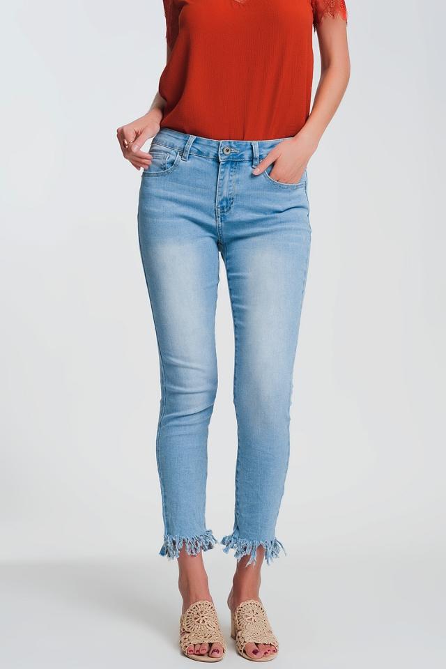 Jean skinny Bleu clair avec ourlet effiloché