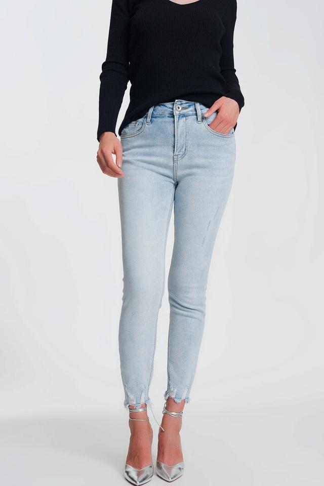 Jean skinny taille haute à bords bruts Bleu Clair