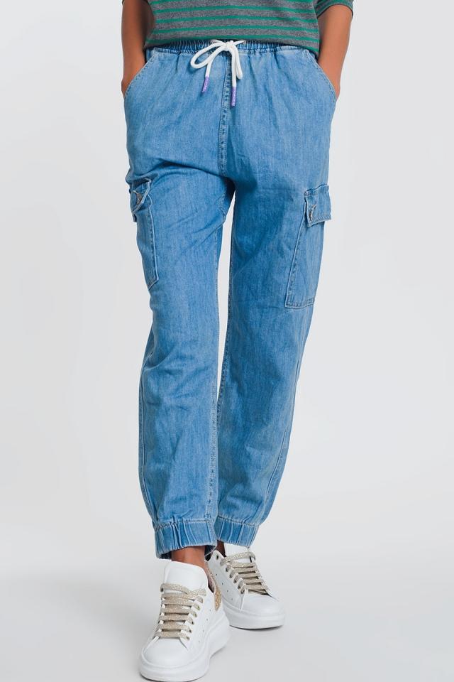 Jogger en jean avec poches Bleu Clair