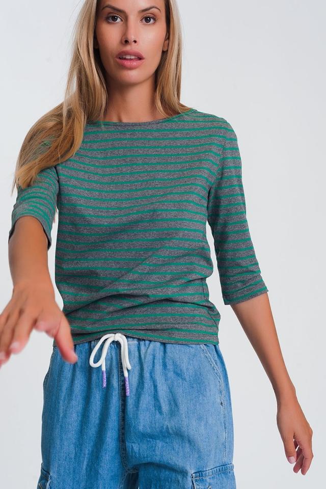Chemise manches 3/4 à rayures avec col bateau vert