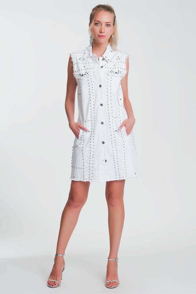 Robe courte cloutée style blanc