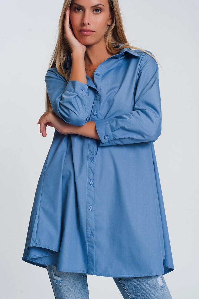 Oversized shirt with collar in blue