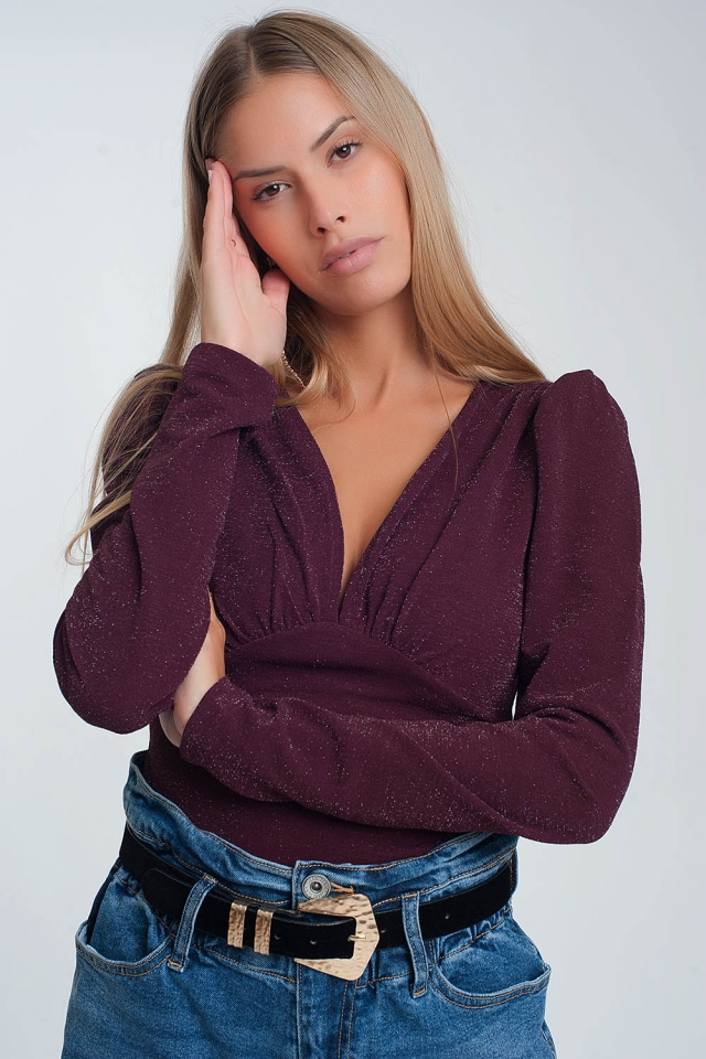Long sleeved v neck body with metallic thread in maroon