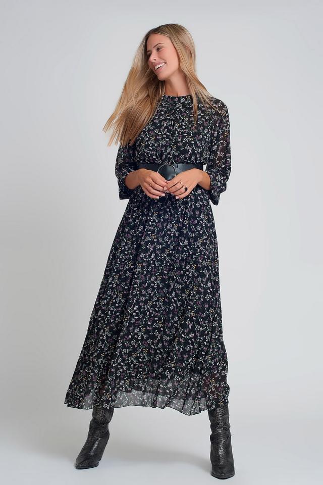 Robe longue en mousseline avec manches bouffantes et ceinture à imprimé floral noir