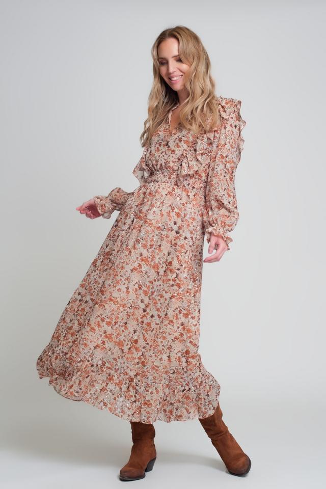 Robe mi-longue marron à imprimé fleuri à volants et manches longues col V