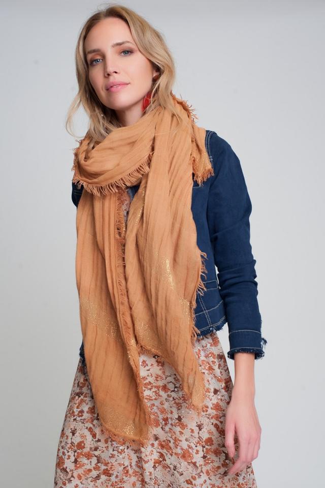 écharpe légère orange à rayures dorées
