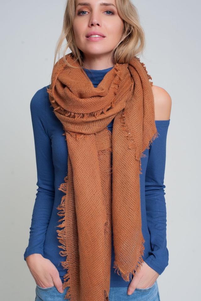 Écharpe tricotée légère en orange