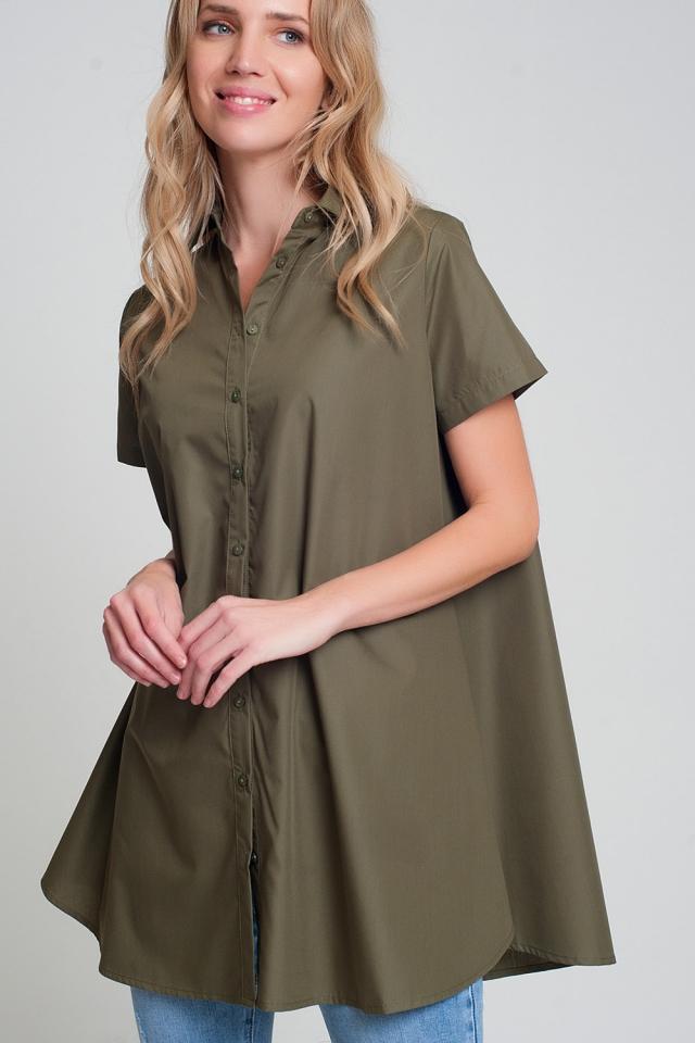Chemise oversize en popeline kaki à manches courtes