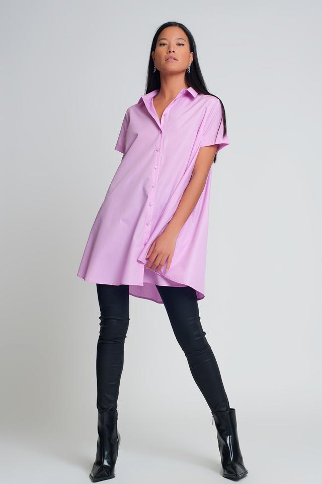 Chemise oversize en popeline violette à manches courtes