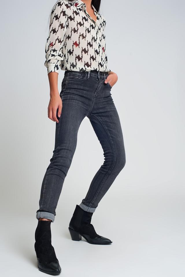 Jean skinny taille haute en Noir délavé