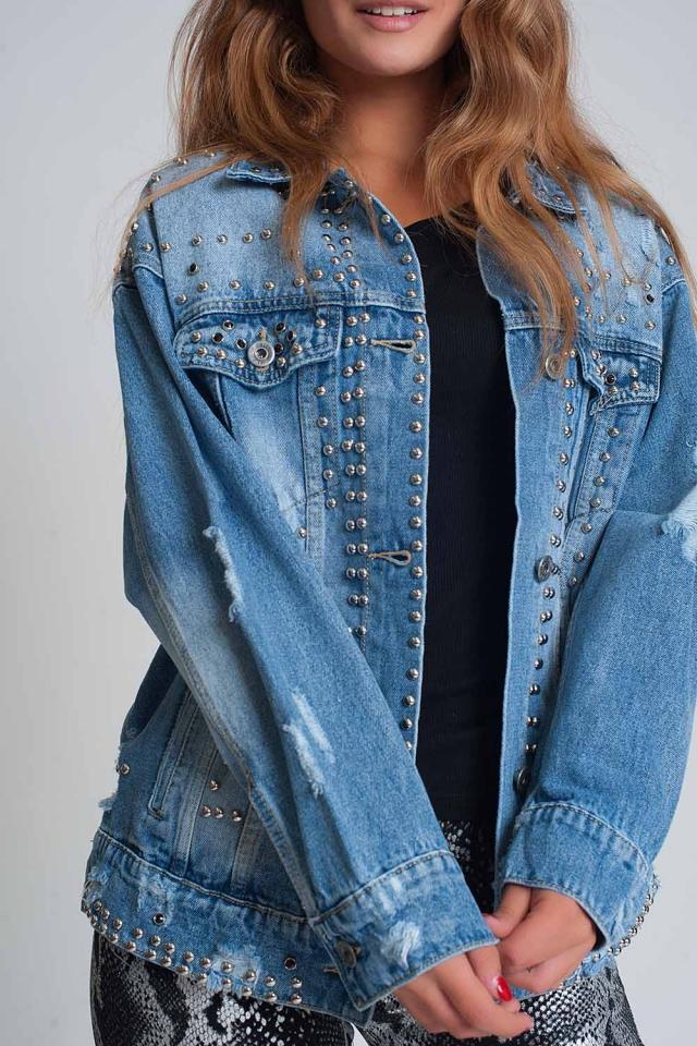 Veste en jean ample avec clous