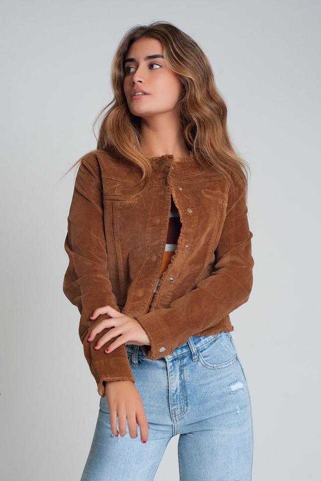 Veste en velours côtelé style western de couleur marron