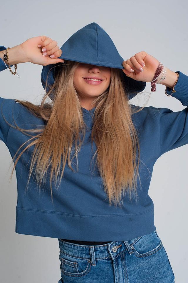 Sweat-shirt à capuche bleu
