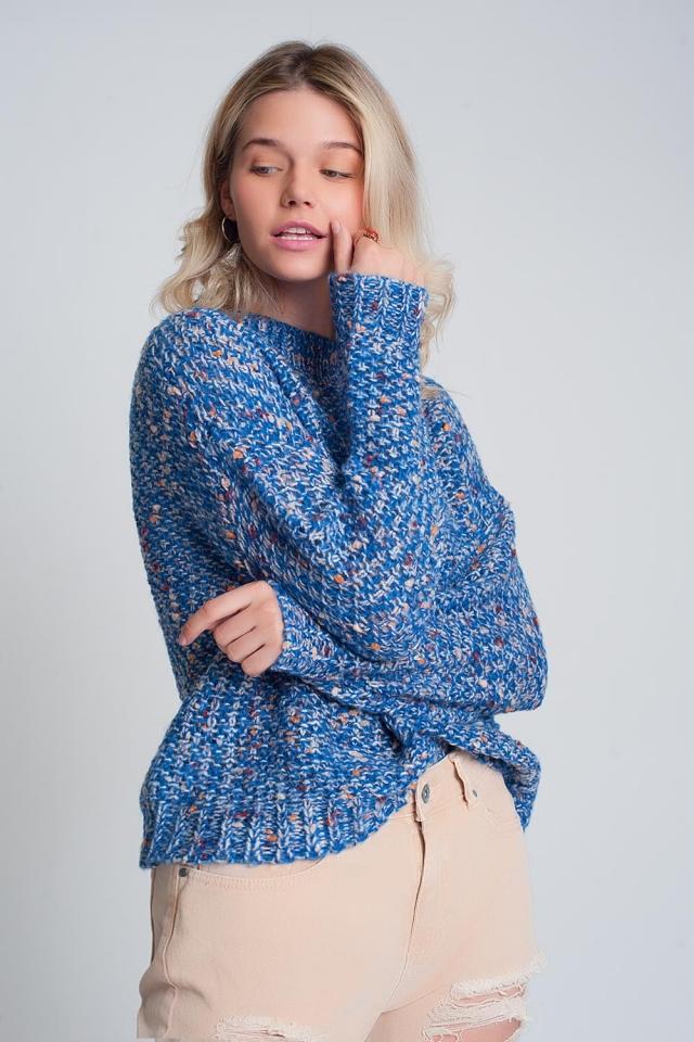 Pull en tricot épais bleu