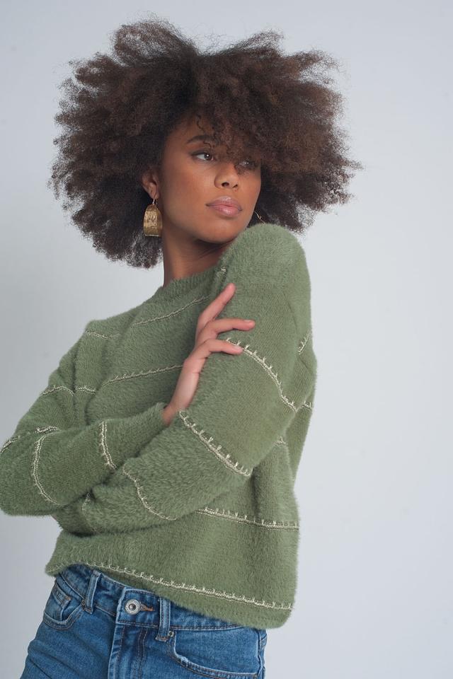 Pull en tricot pelucheux texturé à torsion kaki