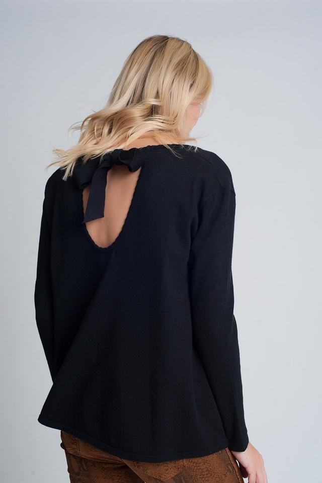 Pull avec dos découvert à nouer manches longues et col en v en noir