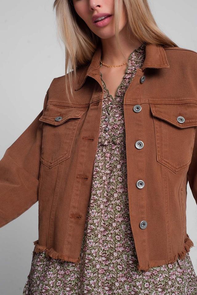 Veste en jean brune à bords bruts